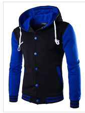 Fashion Men's Hoodies Slim Fit Sweater Hooded Cardigan Button Down Jacket Coat g