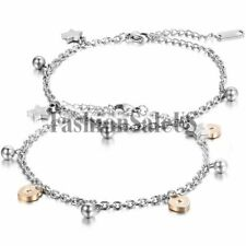 Women Girls Simple Stainless Steel Heart Lock  Ball Charm Chain Bracelet Anklet