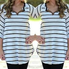 New Fashion Women Ladies Shirt Casual Shirt Long Sleeve Blouse Striped Tops Gift