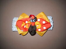 Thanksgiving Turkey Hair Bow Infant Toddler With or W/O Headband *SHIPS FREE