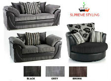 BRAND NEW LUCY LUSH 3 + 2 SEATER SOFA SET SUITE BLACK GREY BROWN MINK