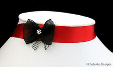 Bohemian Goth Party Wedding Bride Victorian Red Satin Ribbon Choker Necklace