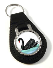 Black Swan Leather Key-fob/Metal Keyring