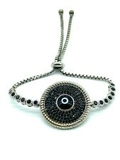 Sterling Silver Cubic Zirconia Evil Eye Bracelet Crystal  Jewelry #9375