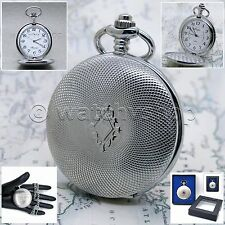 SILVER Antique Style Classic Mens Quartz Pocket Watch on Chain and Gift Box P147