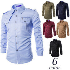 New Men's Casual Long Sleeve Epaulet Shirts Fashion Formal Tops Slim Fit Tops sv