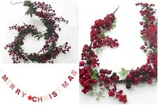 Berry Garland Merry Christmas Xmas Table Fireplace Stair Artificial Decoration