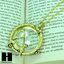 "Gold & Silver 5X Magnifying Glass Playing Kitty Cat Pendant 31"" Necklace 20M"
