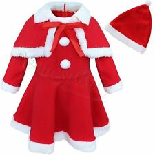 New Baby Girl Santa Christmas Dress Shawl Hat Outfit Set Toddlers Infant Clothes