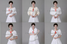 Wedding Shrug Wrap Cloak Shawl  Bridal Faux Fur Coat Jacket Cape Bolero Scalf