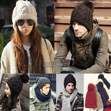 Mens Womens Unisex Winter Beanie Bobble Twist Hat Warm Knitted Oversized