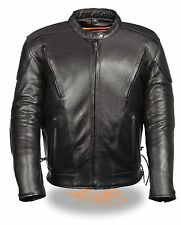 Mens Black Vented Leather Scooter Jacket, Side Laces, Padded Back, Gun Pockets