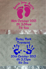 PERSONALISED SUPERSOFT BABY BLANKET WITH SATIN EDGE FOOTPRINTS OR HANDPRINTS