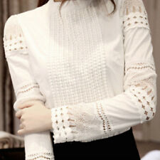 Women Long Hollow Splicing Shirt Lace Sleeve OL Tops Round Collar Blouse WS