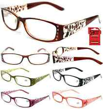 Plastic Color Reading Glasses with Rhinestone Etched Flower Design