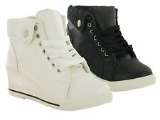 WOMEN/LADIES LACE UP STRAP ANKLE HIGH SNEAKERS WEDGE TRAINER BOOTS UK SIZES