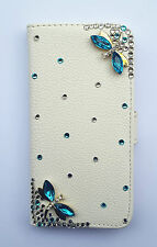 Bling Dragonfly Wallet Card Holder PU Leather Flip Cover Case for HTC phones