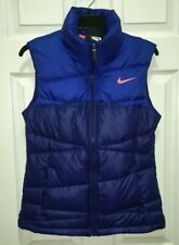NEW Womens Sz S NIKE Alliance 550 Blue Fitted Quilted Down Puffer Winter Vest
