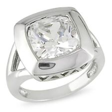 Sterling Silver 6 1/2 Ct TGW cushion crystal Cocktail Ring