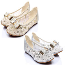 Fad Cute Comfy Bow Lace Gauze Almond Shaped Toe Dreamy Wedding Flats Pumps Shoes