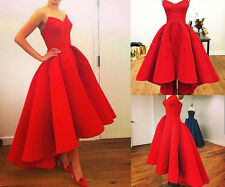 Red Hi-Lo Satin Formal Long Party Cocktail Ballgown Prom Wedding Evening Dress
