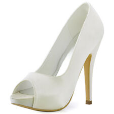 HP1561I Peep Toe Women Party Pumps Platform Satin High Heels Wedding Shoes