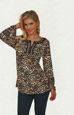 Krista Lee Fever Cheetah Animal Print Embroidered Beaded Tunic Top Blouse Brown