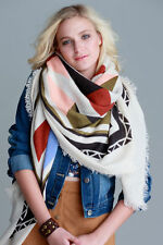 Frayed Blanket Scarf/Shawl - Tribal - Color Block - Multi 52 x 52- One Size