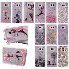 Luxury Painted Liquid Glitter Quicksand Hard Back Case Cover For iPhone Samsung
