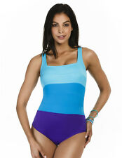 Miraclesuit Spectra Square Neck Surf Blue Soft Cup Swimsuit 451040