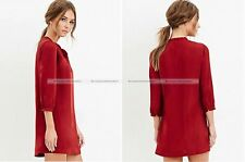 Lady Red Sweet Bow Tie Collar Shirt 3/4 Sleeve Dress Fashion 10515611