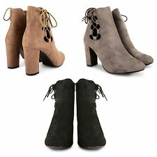 LADIES WOMENS FAUX SUEDE CASUAL LACE UP HIGH HEEL BLOCK ANKLE BOOTS SHOES SIZE