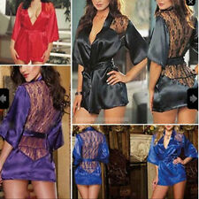 Sexy Lace Satin Babydoll Robe Sleepwear Lingerie Night dress Pajamas G-string