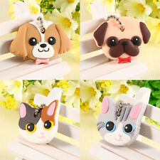 Brand New 1Pcs Cute Dog Cat Puppy Pug PVC Key Cover Cap Key Chain Keyring Gift