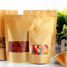 Kraft Paper Stand Up Food Gift Bags Pouches With Clear Window Ziplock 14cmx20cm