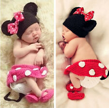 Cute Baby Infant Minnie Crochet Knit Costume Photo Photography Prop Hat Outfits