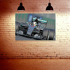 Lewis Hamilton Mercedes 2015 - Digital Painting Framed Canvas Print - F1 GP Gift