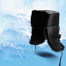 MENS COZY LEATHER USHANKA FUR HAT CAP WINTER TROOPER TRAPPER SKIING HAT EARFLAPS