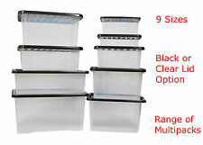 Plastic Boxes with Lids - New Clear Strong Storage Box Small Large Lid Container
