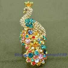 Size 6,7,8,9 Ring,GEMSTONE PEACOCK REAL DAINTY 18K YELLOW GOLD GP SOLID FILL GEP