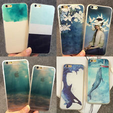 Art Watercolor Pattern Design Soft TPU Hard PC Case Cover for iPhone 5 6 6S Plus
