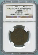 1783 Unity States 1 Cent Washington & Independence Colonial. NGC Fine Details.