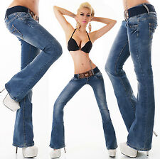 Sexy Women's Hipster Bootcut Jeans blue wash creased effect Jeans Trousers +Belt