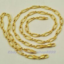 "REAL 18""5mm12g NECKLACE 8.3"" BRACELET SET,18K YELLOW GOLD GP,1-3set Wholesale"