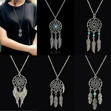 Women Retro Dream Catcher Pendant Long Chain Necklace Sweater Chain Jewelry BOHO