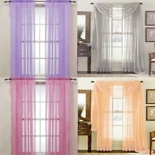 1x Door Window Curtain Drape Panel or Scarf Assorted Scarf Sheer Voile 19 Colors