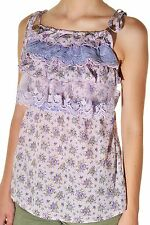 Forla Paris Country Floral Top Calico Shirt Lace Chintz Empire Waist Ruffle Tank