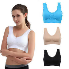 6 Colors Gym Vest Women Sexy Lace Crop Yoga Sports Padded Bras Top Stretchy S31