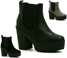 WOMENS BLACK GREY HIGH HEEL PLATFORM CHUNKY CHELSEA RIDING ANKLE BOOTS