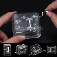 Transparent Square Hand Crank Hurdy Gurdy Movement Mini Music Box Play Kid Toy